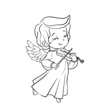 violin making: Cute smiling baby angel making music plaing violine. Vector illustration. Good for seasonal greeting, redwork, coloring page. Ink line work, contour