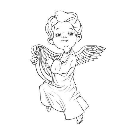 Cute smiling toddler angel making music playing harp. Vector illustration. Good for seasonal greeting, redwork, coloring page. Ink line work, contour 向量圖像