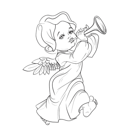 Cute smiling toddler angel making music playing trumpet. Vector illustration. Good for seasonal greeting, redwork, coloring page. Ink line work, contour