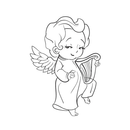 Cute smiling baby angel making music plaing harp. Vector illustration. Good for seasonal greeting, redwork, coloring page. Ink line work, contour
