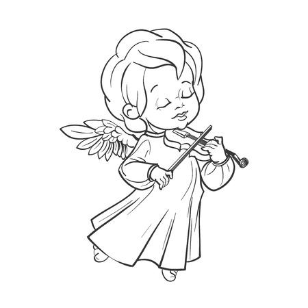 Cute baby angel making music playing violin