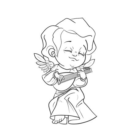 Cute baby angel making music playing lute