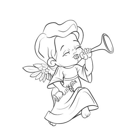 Cute baby angel making music playing trumpet 向量圖像