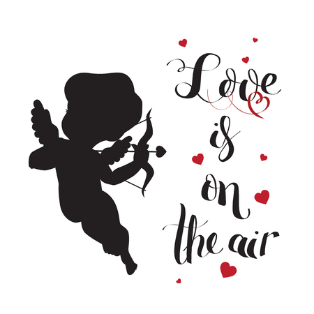 Cupid Love silhouette with bow and arrow and Love is on t 向量圖像