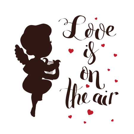 Cupid Love silhouette with harp and Love is on the air 向量圖像