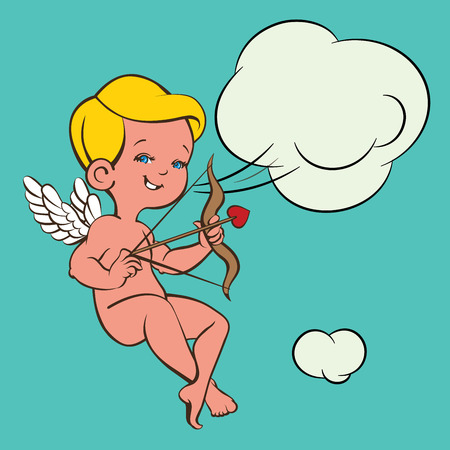 Cupid Love silhouette with bow and arrow and speech bubble 向量圖像