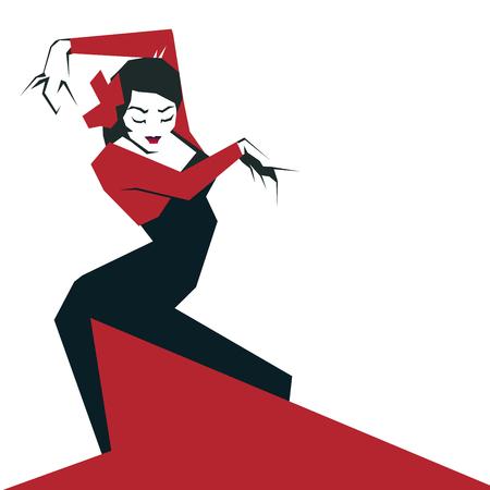 Flamenco Dancer in expressive impressive pose. Minimalost laconi