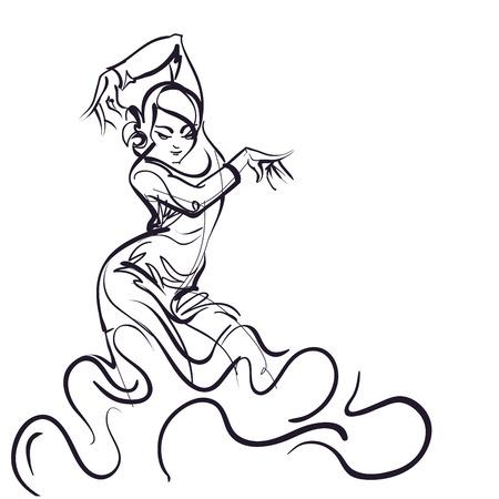 Flamenco Dancer in expressive impressive pose