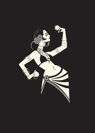 tribal belly dancer with cymbals holding expressive impressive p Illustration