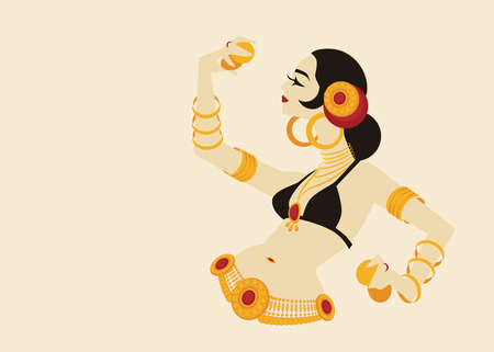 tribal belly dancer with cymbals holding expressive impressive p 向量圖像