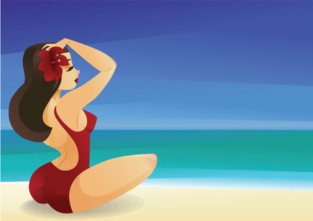 Pinup curvy brunette girl on ocean shore decorates its hair with 版權商用圖片