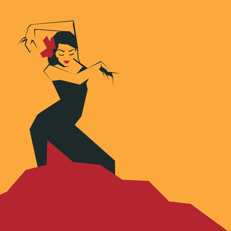 Flamenco Dancer in expressive impressive pose. Minimalistic laconic Ilustração