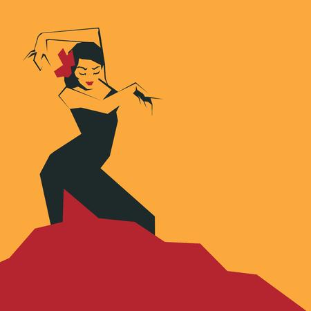 Flamenco Dancer in expressive impressive pose. Minimalistic laconic Illustration