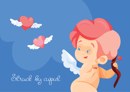 Cupid hunting with archey bow flying hearts. Cupid playing music 向量圖像