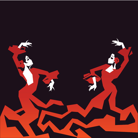 couple of Flamenco Dancer in expressive impressive pose. Minimalistic graphic in laconic edged geometric shapes.