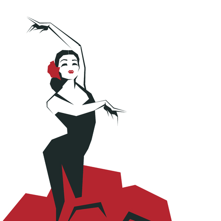 印象的なポーズで表情豊かなフラメンコ ダンサー。簡潔な研がれた幾何学的図形でミニマルなグラフィック。