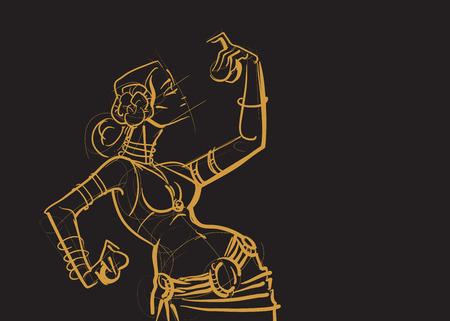 bellydancer: Tribal belly dancer holding cymbals in impressive expressive pose. Gesture line drawing of pose in motion. Designed for placard, poster, affiche, flyer, card