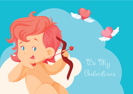 Cupid hunting with archey bow flying hearts.