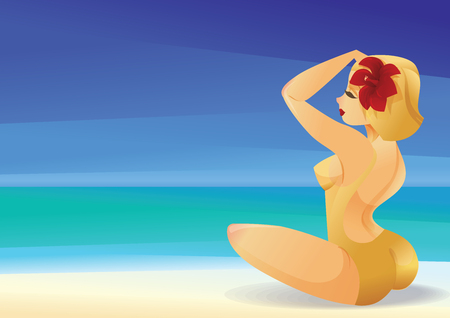 Pinup curvy blonde girl on ocean shore decorates its hair with a