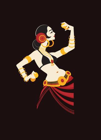 Tribale buikdanser met cimbalen die een indrukwekkende indrukwekkende performer bezitten Stock Illustratie