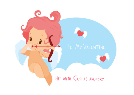 Cupid hunting with archery bow flying hearts. Handwritten fun quotation Valentines Day message 向量圖像