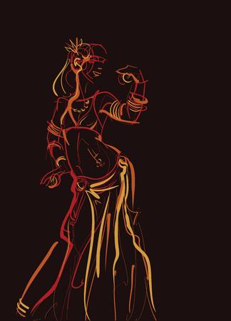 Icona tribale del ballerino di pancia. Archivio Fotografico - 85023517