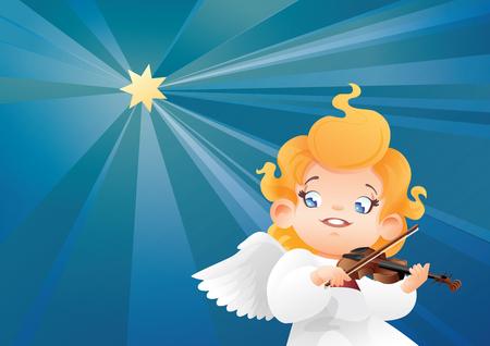 Smilyng flying on a night sky kid angel musician violinist play 版權商用圖片 - 85440917