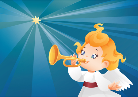 Kid angel musician  flying on a night sky, making fanfare call 版權商用圖片 - 85440920
