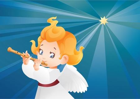 Kid angel musician flutis, flautist flying on a night sky making