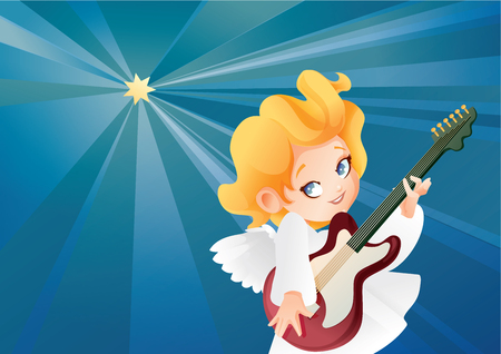 Kid angel musician guitarist flying on a night sky making music on guitar to Christmas star. Illustration