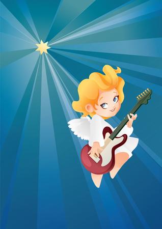 Kid angel musician guitarist flying on a night sky making music on guitar to Christmas star. 向量圖像