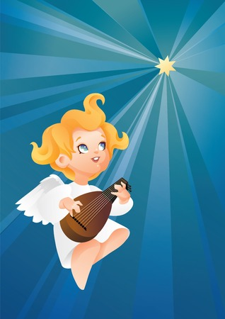 luteist angel musician flying on a night sky making music on lute to a Christmas star 版權商用圖片 - 85440968