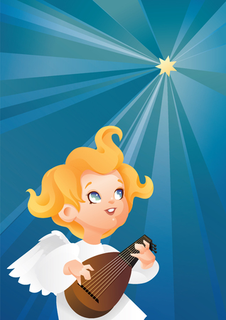 luteist angel musician flying on a night sky making music on lute to a Christmas star 版權商用圖片 - 85440969