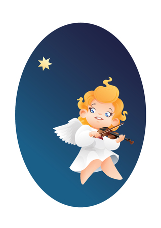 Christmas background design with violinist angel musician. Happy smiling flying on a night sky cute cartoon angel kid play music  on violin tostar. Good siut for card, music collection box cover 版權商用圖片 - 85874239