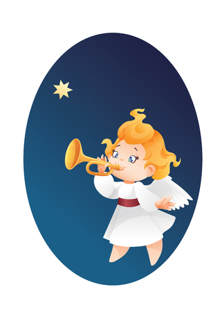 Christmas background design with fanfareist angel musician. Happy smiling cute cartoon kid play fanfare on trumpet to star flying on a night sky. Good siut for  card, music collection box cover