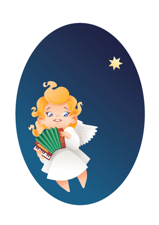 Christmas background design with accordionist angel musician. Happy smiling flying in the night sky cute cartoon kid play music  on  accordion to star. Good siut for card, music collection box cover 版權商用圖片 - 85874241