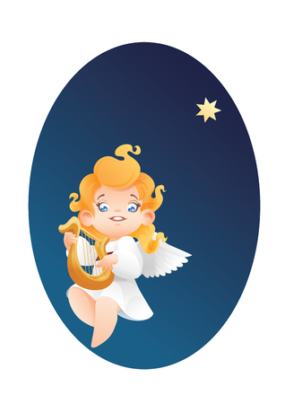 Christmas background design with harpist angel musician. Happy smiling cute cartoon kid play music on harp to star flying on a night sky. Good siut for card, music collection box cover 版權商用圖片 - 85874244