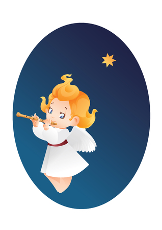 Christmas background design with flutis angel musician. Happy smiling flying cute cartoon kid play music on flute to star flying on a night sky. Good siut for card, music collection box cover 版權商用圖片 - 86141116