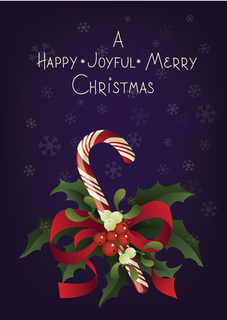 Christmas and holiday season card design with handlettered greeting A Happy Joyful Merry Christmas and candy cane. Rich decorated with a candy cane in bouquet of Misletoe and Holly berry plant 版權商用圖片 - 87002236