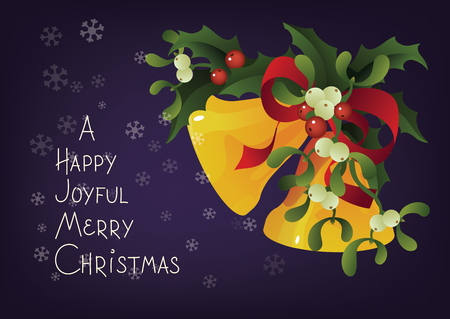 Christmas and holiday season card design with handlettered lettering greeting A Happy Joyful Merry Christmas. Rich decorated with a bouquet of Misletoe, Holly berry plant and Jingle Bells 版權商用圖片 - 87002237