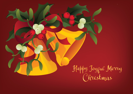 Christmas and holiday season card design with handlettered lettering greeting A Happy Joyful Merry Christmas. Rich decorated with a bouquet of Misletoe, Holly berry plant and Jingle Bells 版權商用圖片 - 87002241