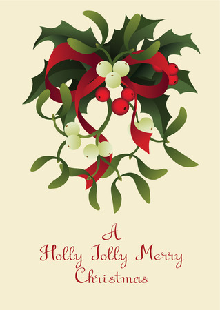 Christmas and holiday season card design with handlettered greeting Holly Jolly Merry Christmas. Rich decorated with a bouquet of Misletoe and Holly berry plant 版權商用圖片 - 87002242