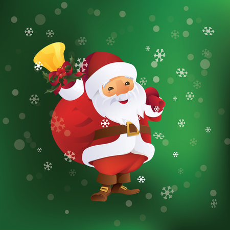 Christmas greeting card design with Santa Claus with gift bag and bell in hand. 版權商用圖片 - 88218072