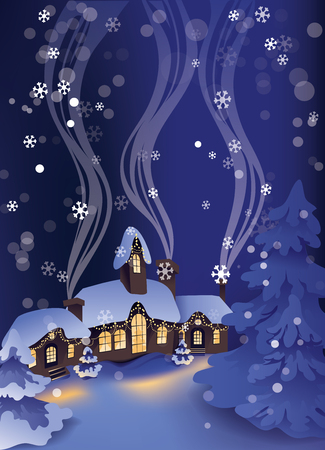 Christmas greeting card design with calm winter snowy night in Christmas village and pine trees on background. 版權商用圖片 - 88218073