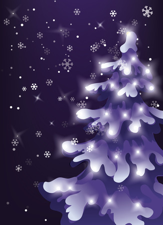 Winter design vector background with snow is falling from dark night sky. Snowfall in winter night. pine snowy tree with holiday lights 版權商用圖片 - 88916802