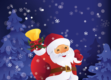 Christmas greeting card design with calm winter snowy night in forest. Santa Claus with gift bag and bell in hand.