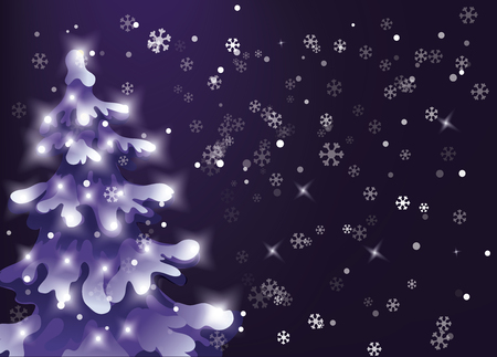 Winter design vector background with snow is falling from dark night sky. Snowfall in winter night. pine snowy tree with holiday lights 版權商用圖片 - 89479966