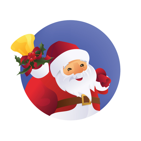 character of Santa Claus with gift bag and bell in hand.