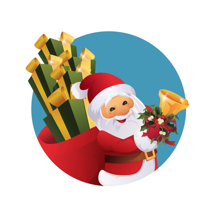 character of Santa Claus with gift bag and bell in hand. 版權商用圖片 - 90994746