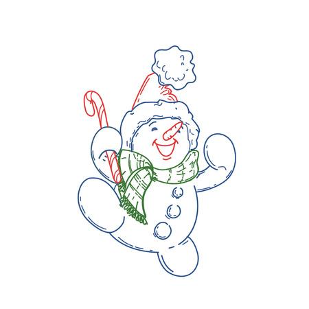 Happy cute cartoon snowman 向量圖像